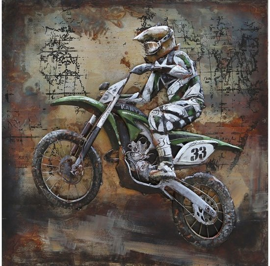 Metalen 3d Schilderij.Metalen 3d Schilderij 100x100cm Motorcrosser