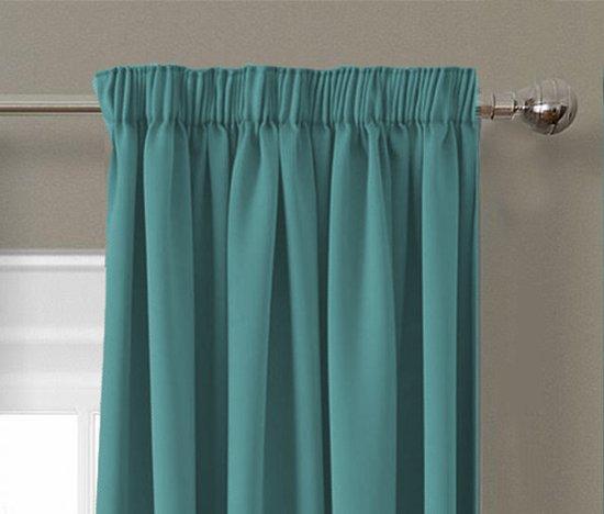 ruben gordijn verduisterend turquoise 150x250 cm kant en klaar met haken luxe zonwerende gordijnen
