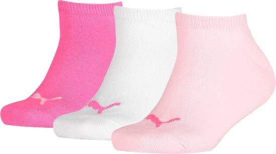 91163ea9c14 bol.com | Puma - Kids 3-Pack Sneaker Sokken Invisible Wit Roze Zwart ...