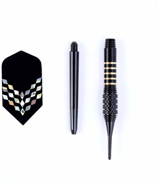 #DoYourDart - 3x Softtip dartpijlen - koperen barrel - aluminium shafts, flights incl. Dartetui - 17,4g totaal gewicht pijlen - zwart