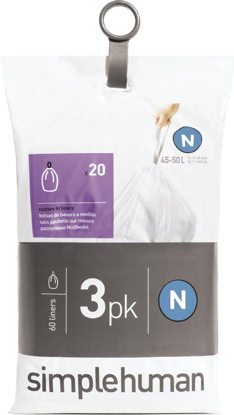 Simplehuman Afvalzak Code N Pocket Liners 45 Liter (60 stuks)