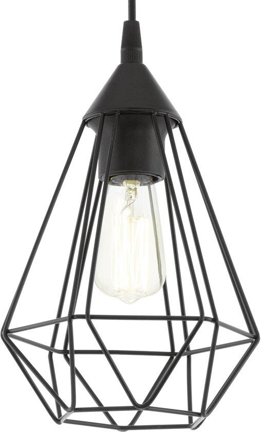 EGLO Vintage Tarbes - Hanglamp - Draadlamp - 1 Lichts - Ø17cm. - Zwart