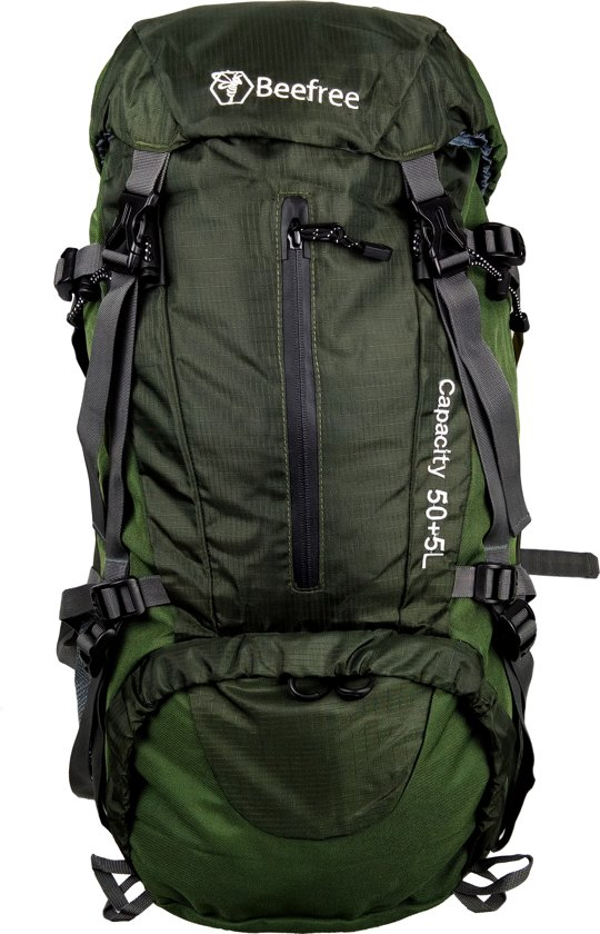 a5f57a32ce7 bol.com | Beefree 55 Liter nylon Backpack groen | Inclusief regenhoes