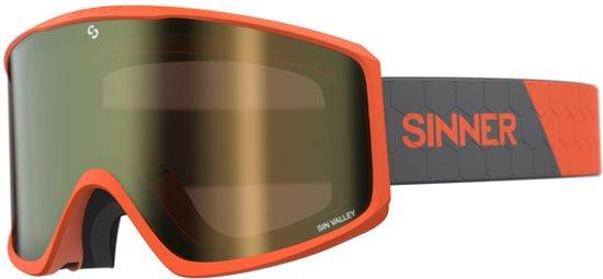 Sinner Sin Valley Unisex Skibril - Oranje frame - Goudkleurige lens + Oranje lens