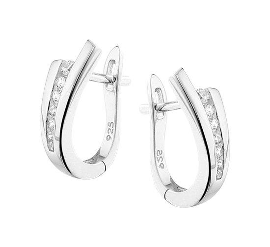 The Jewelry Collection Klapoorringen Zirkonia - Zilver