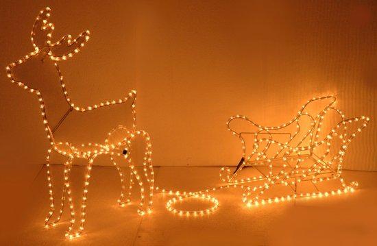 3d kerstmis rendier met slee lichtslang 504 led 208x28cm