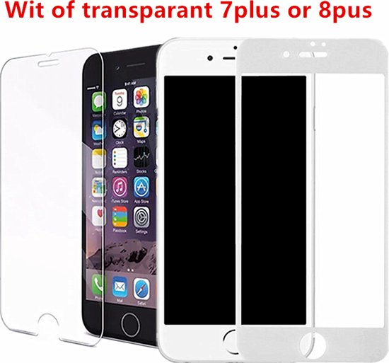 iPhone Wit of transparant  Glazen screenprotector iphone 7plus or 8plus apple tempered glass   Gehard glas Screen beschermende Glas Cover Film