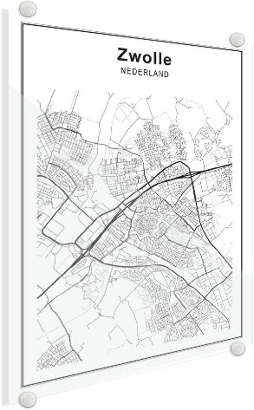 Stadskaart - Zwolle Plexiglas 100x140 cm - Plattegrond