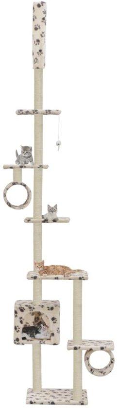 Kattenkrabpaal met sisal krabpalen 260 cm pootafdrukken beige