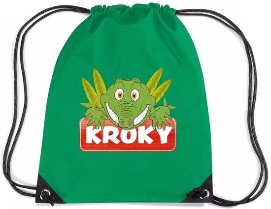 394a01433b5 Kroky de Krokodil rijgkoord rugtas / gymtas - groen - 11 liter - voor  kinderen