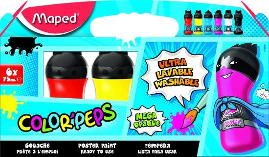 COLOR'PEPS plakkaatverf ultra uitwasbaar - primaire kleuren - flacons à 75 ml - in kartonnen doos x 6