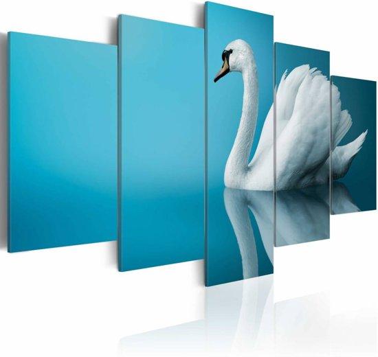 Schilderij Zwaan in blauw