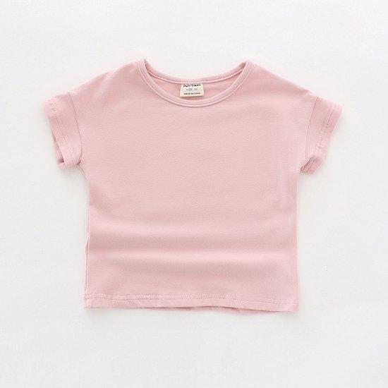 Katoenen T-shirt met ronde hals en ronde hals roze 110