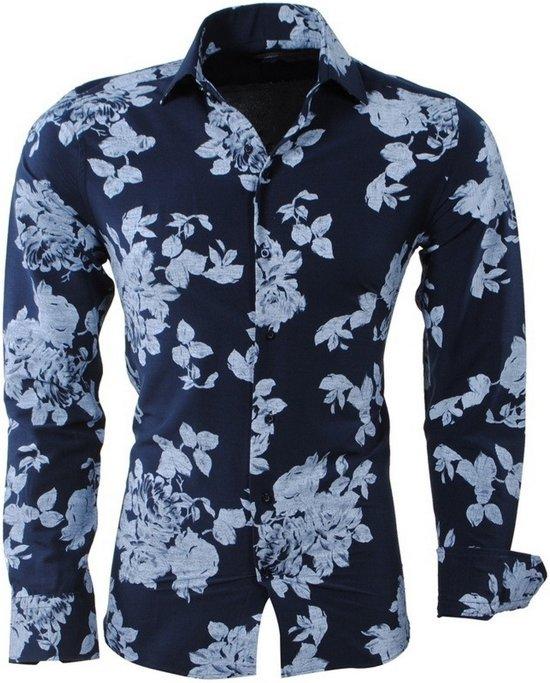 Navy Overhemd Fit Montazinni Heren Bloemen Slim 1gxBBWwSq0