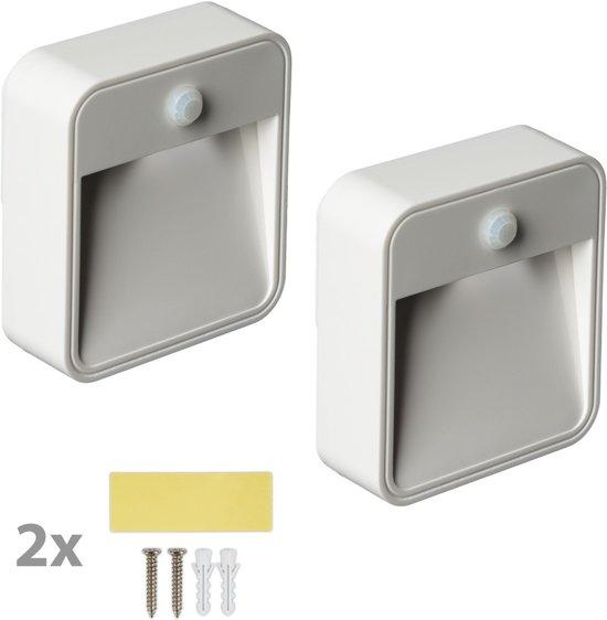tectake 2x led nachtlamp met bewegingsmelder verlichting met sensor batterij 401745