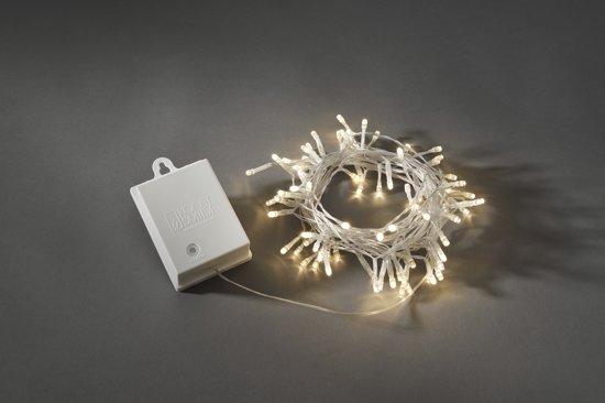 Konstsmide 3728 - Snoerverlichting - 80 lamps micro LED - 790 cm - 6u en 9u timer - transp kabel - op batterij - voor buiten - warmwit