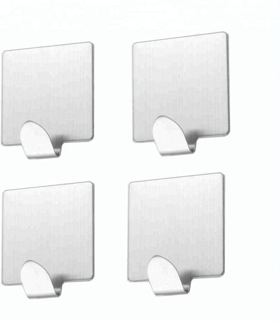 Bolcom Zelfklevende Ophang Haken Rvs Vierkant 4 Stuks