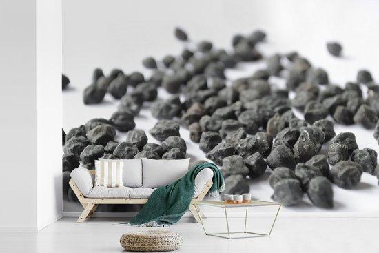 Fotobehang vinyl - Verspreide zwarte kikkererwten op witte ondergrond breedte 450 cm x hoogte 300 cm - Foto print op behang (in 7 formaten beschikbaar)
