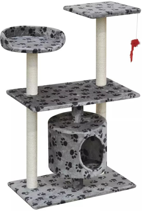 vidaXL Kattenkrabpaal 94,5 cm 1 huisje grijs met potenprint