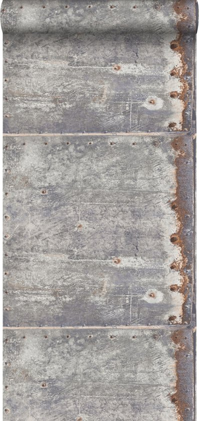 Esta Home Vintage Rules! Metalen platen licht grijs/roest