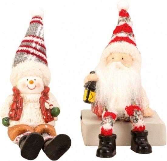 Kerstman + sneeuwman met bungelbenen set van 2 stuks Valentinaa