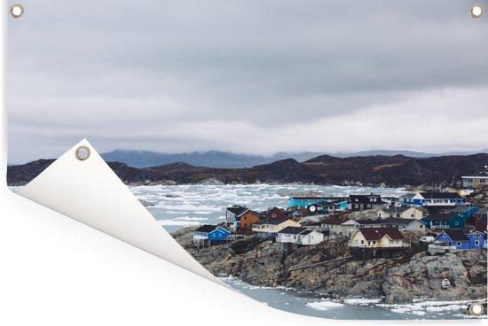 Zee bij IJsfjord van Ilulissat in Groenland Tuinposter 180x120 cm - Tuindoek / Buitencanvas / Schilderijen voor buiten (tuin decoratie) XXL / Groot formaat!