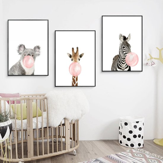 Postercity - Design Canvas Poster Zebra met Kauwgom / Kinderkamer / Muurdecoratie / 40 x 30cm / A3