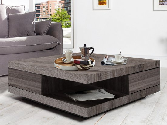 Moderne Vierkante Salontafel.Vierkante Salon Tafel Met 2 Praktische Lades Carre Quercia Mdf Hout Donker Sonoma Eik Kleur