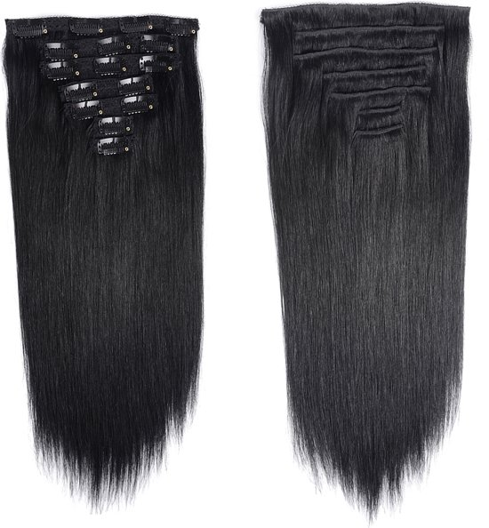 Clip-in hair-extensions Synthetisch silky straight haar kleur:Zwart 55cm 200 gram