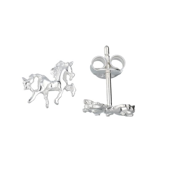 Lilly kinderoorknopjes - zilver - paard - 7.3 x 9 mm