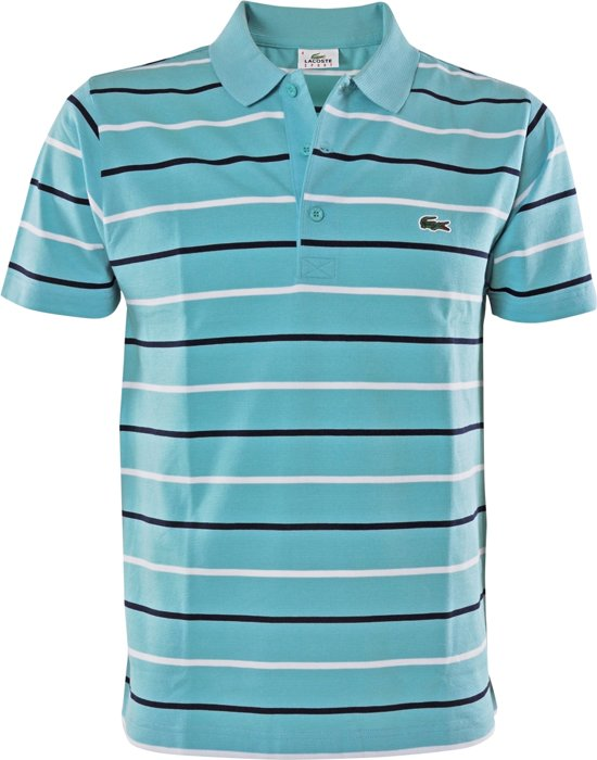 Lacoste Chemise Col Bord Cotes - Sportpolo - Mannen - Maat S - blauw combi