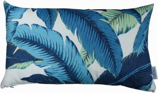 Bol kussen bananenblad blauw blauw wit cm
