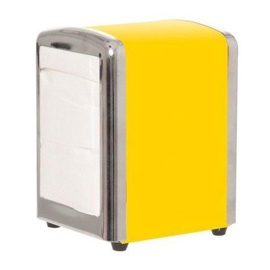Gele servethouder/ servetten dispenser 14 cm
