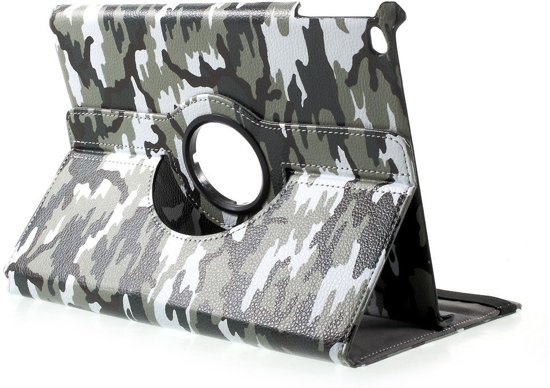 Shop4 - iPad 9.7 (2018) Hoes - Rotatie Cover Camouflage Groen