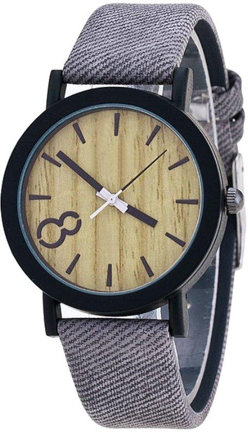 Fako® - Horloge - Houtlook - Grijs