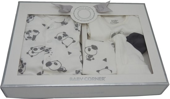 Baby Corner - Newborn Gift Set - kraamcadeau babygeschenkset - off white / grijs - maat 50/56