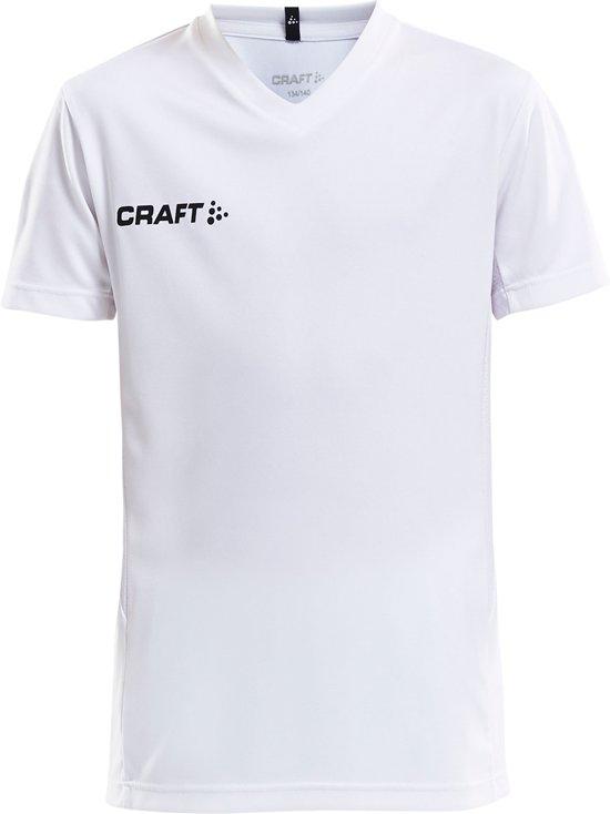 Craft Squad Jersey Solid SS Shirt Junior Sportshirt - Maat 122  - Unisex - wit/zwart Maat 122/128