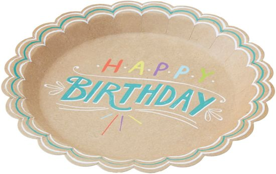 Papieren borden - Happy Birthday (8 stuks) Valentinaa