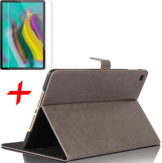 Samsung Galaxy Tab S5e Hoes + Screenprotector - Lederen Book Case Smart Cover - iCall - Taupe