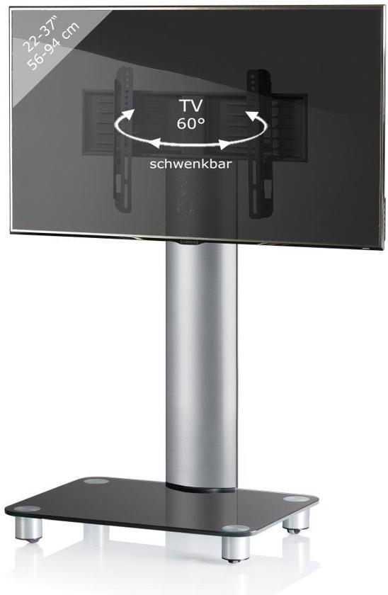 TV voet TV standaard Bilano verrijdbaar zilver/zwartglas