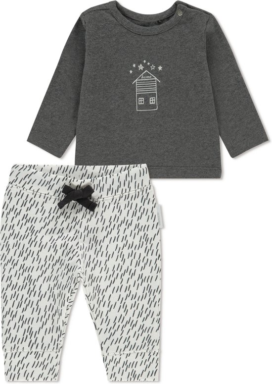Noppies Unisex T-shirt lange mouw met all over print broek Queluz - Grey Melange - Maat 80