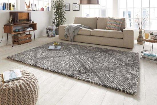 Hoogpolig vloerkleed ruiten Wire -grijs 200x290 cm