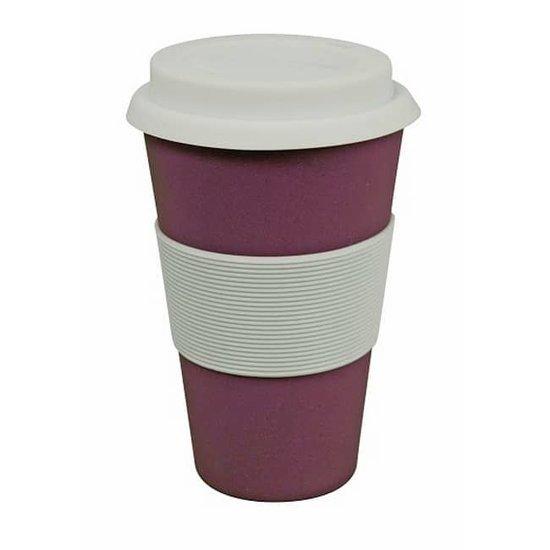 ZUPERZOZIAL - reisbeker, koffiebeker, coffe to go beker, CRUISING TRAVEL MUG, gebaseerd op bamboe & maïs, paars, 300ml