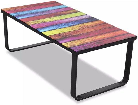 Bol vidaxl salontafel met regenboog print glazen tafelblad