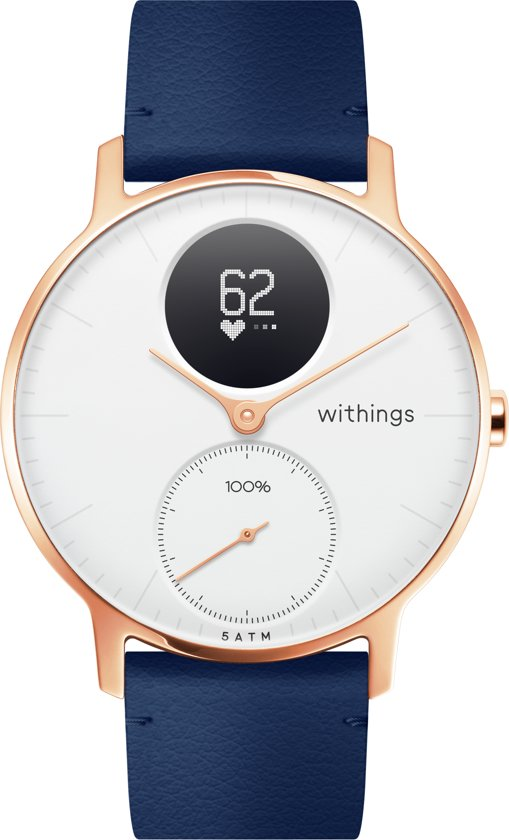 Nokia/Withings Steel HR Rosegold - Hybride Smartwatch - Leren bandje blauw - Ø 36mm