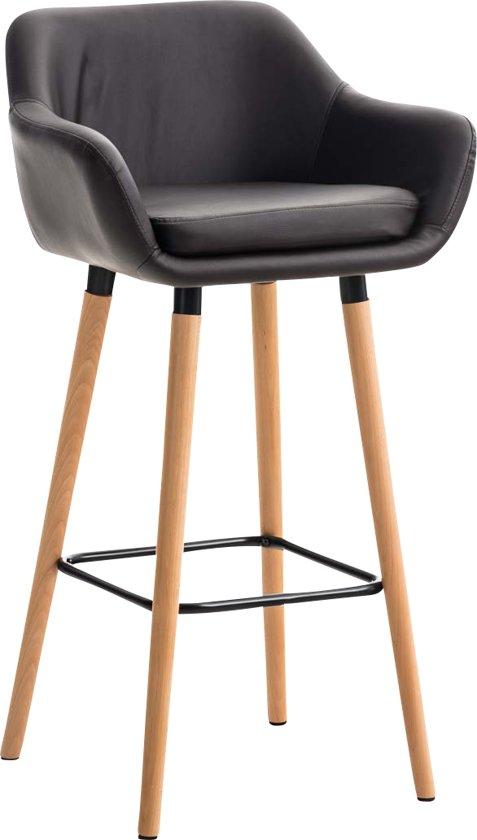 Clp Stijlvolle barkruk GRANT, houten frame, met armleuning, bekleding van kunstleer, - bruin,