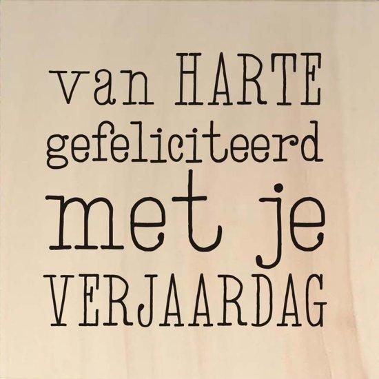 Bol Com Houten Ansichtkaart 15x15cm Van Harte Gefeliciteerd Met Je