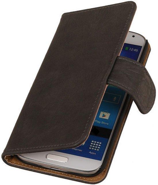 MP Case Grijs Hout Design Samsung Galaxy Core Book Case Wallet in Blauwverlaat / Blauforlaet