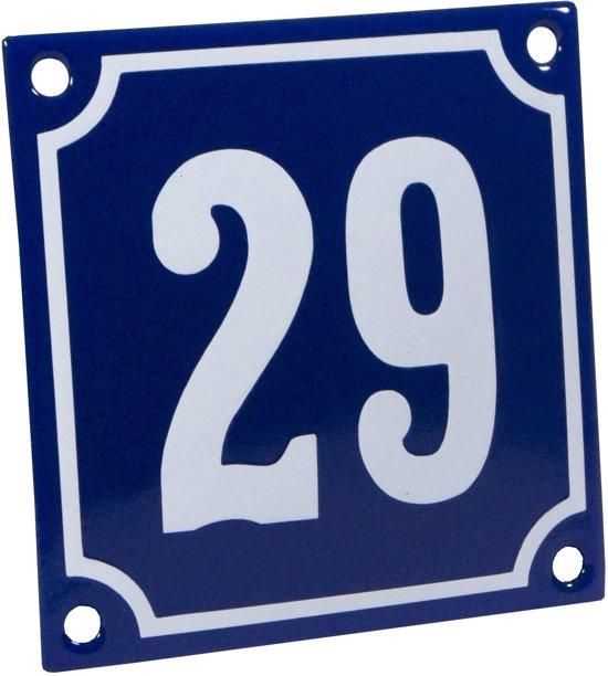 Emaille huisnummer blauw/wit nr. 29 10x10cm