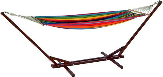Hangmat Met Stevig Frame.Bol Com Hangmat En Standaard Maxiset Fsc Hardhout Multicolor
